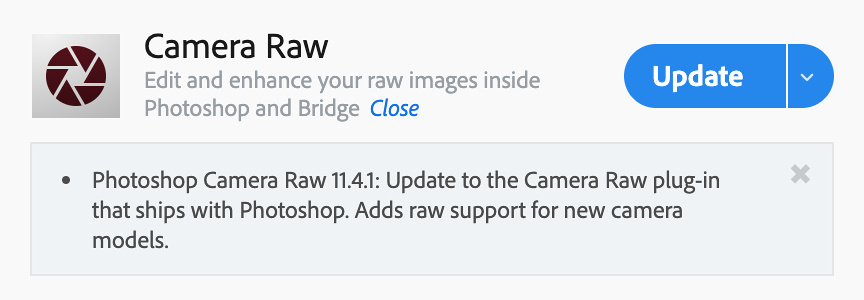 Adobe CC Camera Raw plug-in image