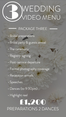 * Bridal preparations * Bridal party & guests arrival at ceremony venue * The ceremony * Registry signing * Post service departure * Formal photography coverage * Reception arrivals * Speeches (pre-meal)     * Highlight Film Included