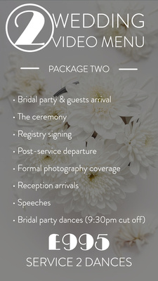 * Bridal party & guests arrival at ceremony venue * The ceremony * Registry signing * Post service departure * Formal photography coverage * Reception arrivals * Speeches * Bridal party dances (9:30pm cut off)