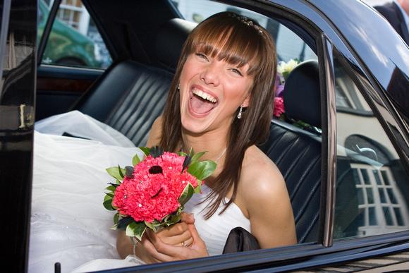 Emma arrives at her wedding venue