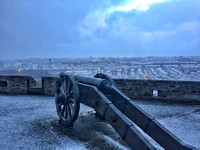 Snow Covered Cannons Over The Bog