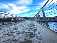 Footsteps in the frost, Peace Bridge, Derry